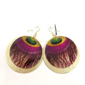 Jewelry - Peacock Gold Purple Metal Round Earrings